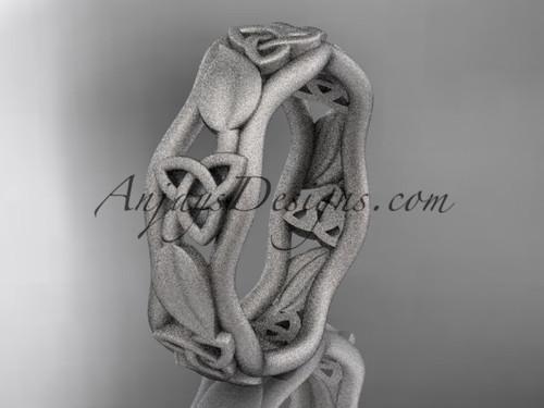 platinum matte finish celtic trinity knot engagement ring, wedding band CT7105B
