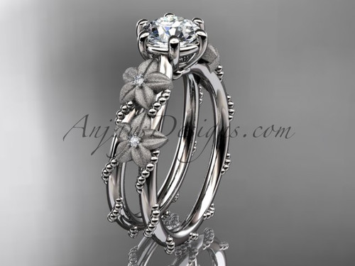 """14kt white gold diamond floral, leaf and vine wedding ring, engagement ring with  """"Forever One"""" Moissanite center stone ADLR66"""
