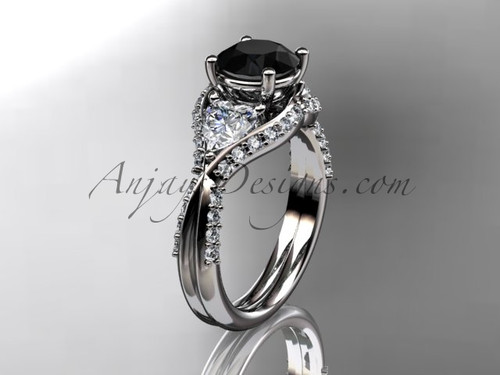 Unique 14kt white gold diamond wedding ring, engagement ring with a Black Diamond center stone ADLR319