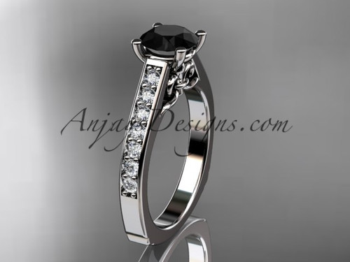 14kt white gold diamond unique engagement ring, wedding ring with a Black Diamond center stone ADER114