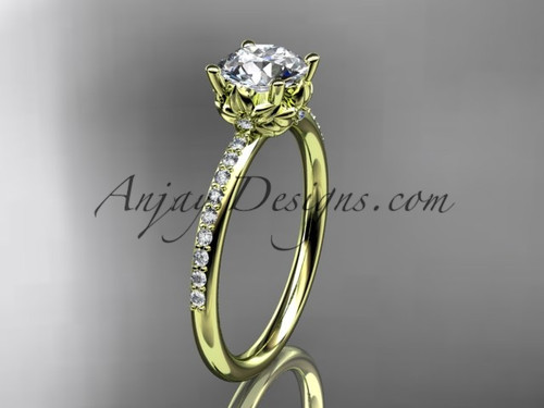 """14kt yellow gold diamond floral wedding ring, engagement ring with a """"Forever One"""" Moissanite center stone ADLR92"""