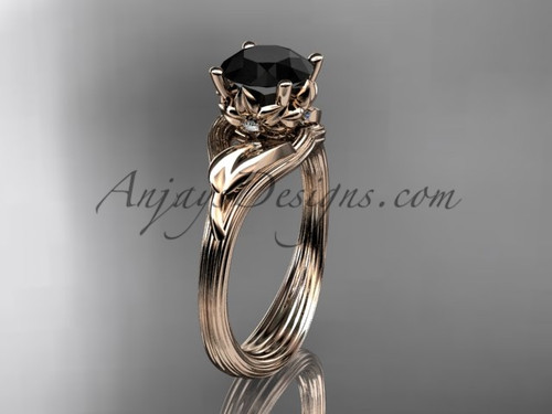 14kt rose gold diamond flower, leaf and vine wedding ring, engagement ring with a Black Diamond center stone ADLR240