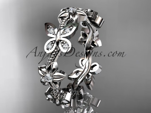 14kt white gold diamond floral butterfly wedding ring, engagement ring, wedding band ADLR139B