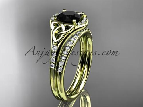 14kt yellow gold diamond celtic trinity knot wedding ring, engagement set with a Black Diamond center stone CT7126S