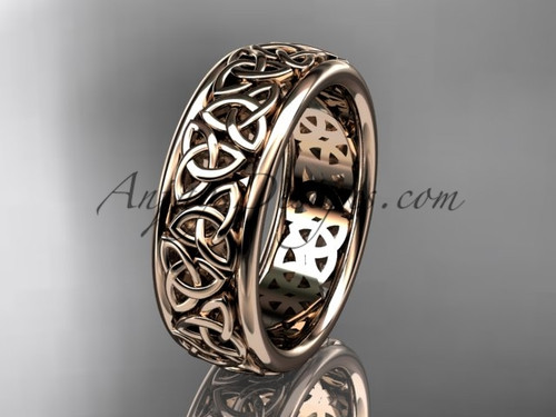 Celtic Bridal Ring, Rose Gold Irish Wedding Band CT7163G