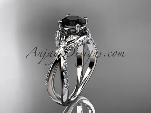 Unique 14kt white gold diamond flower, leaf and vine wedding ring, engagement ring with a Black Diamond center stone ADLR218