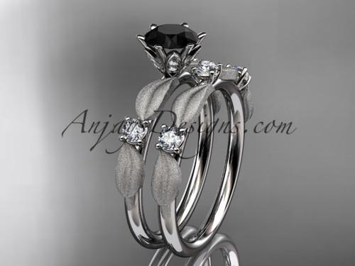 14kt white gold diamond unique leaf and vine engagement set, wedding set with a Black Diamond center stone ADER177S