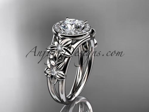 Flowers Halo Diamond Engagement Ring, 14kt White Gold Wedding Ring ADLR131