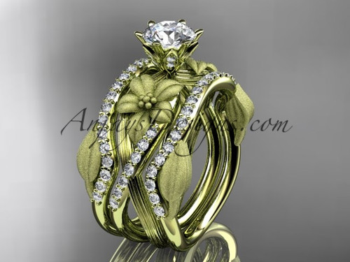 """Unique 14kt yellow gold diamond flower, leaf and vine wedding ring, engagement ring with a """"Forever One"""" Moissanite center stone and double matching band ADLR221S"""