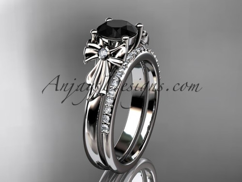 platinum diamond unique engagement set, wedding ring with a Black Diamond center stone ADER154S