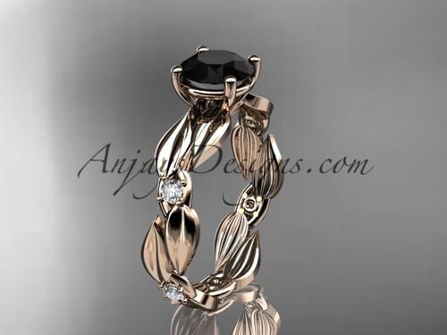 Black Diamond Ring - Rose Gold Leaf Bridal Ring ADLR58