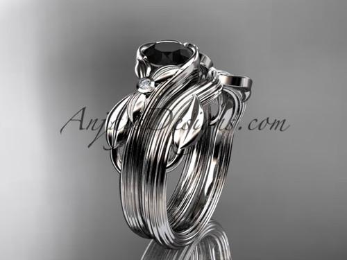 Unique platinum floral engagement set with a Black Diamond center stone ADLR324S