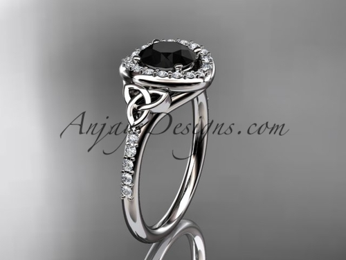 platinum diamond celtic trinity knot wedding ring, engagement ring with a Black Diamond center stone CT7201