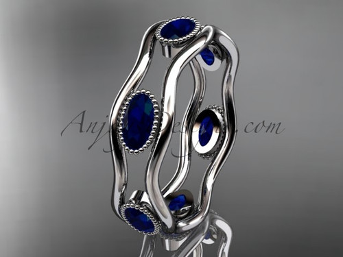 Platinum beautiful wedding ring,engagement ring with Blue Sapphires  ADLR22
