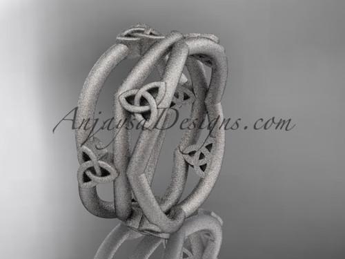 platinum celtic trinity knot wedding band, matte finish wedding band, engagement  ring CT7350G