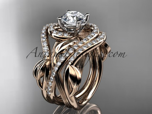 Unique 14kt rose gold diamond leaf and vine wedding ring, engagement ring with a double matching band ADLR222S