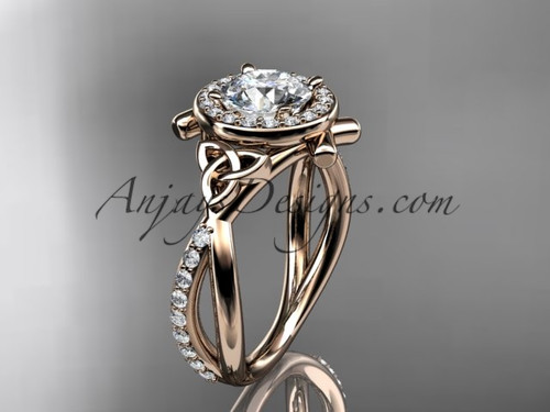 "14kt rose gold celtic trinity knot engagement ring, wedding ring with a ""Forever One"" Moissanite center stone CT789"