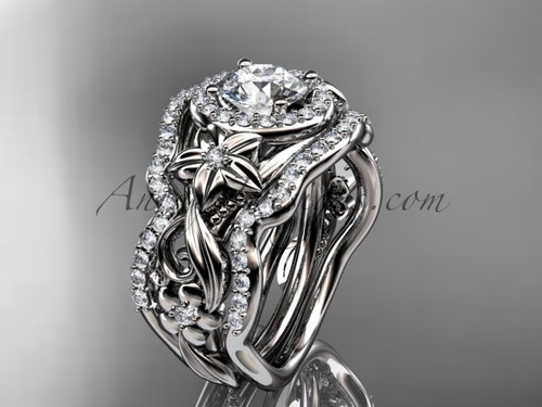"""14kt white gold diamond unique engagement ring, wedding ring with a """"Forever One"""" Moissanite center stone and double matching band ADLR300"""