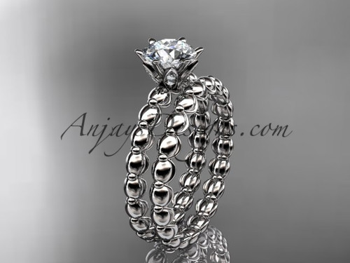 """platinum diamond wedding ring, engagement set with a """"Forever One"""" Moissanite ADLR34S"""
