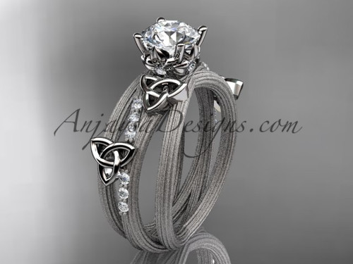 """platinum diamond celtic trinity knot wedding ring, engagement ring with a """"Forever One"""" Moissanite center stone CT7329"""