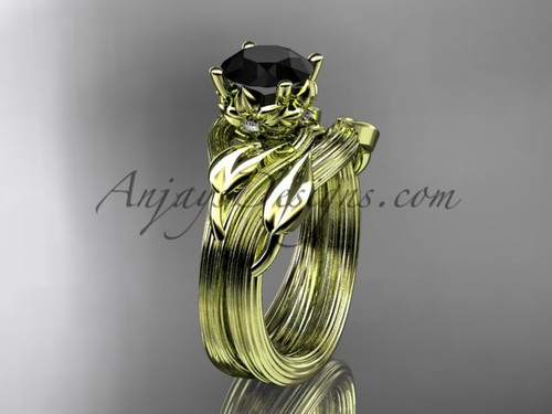 14kt yellow gold diamond flower, leaf and vine wedding ring, engagement set with a Black Diamond center stone ADLR240S