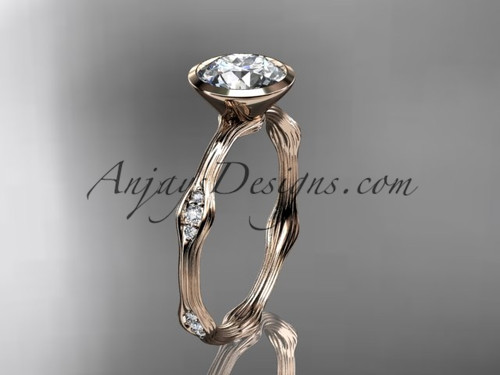 "14k rose gold diamond vine wedding ring, engagement ring with  ""Forever One"" Moissanite center stone ADLR21A"