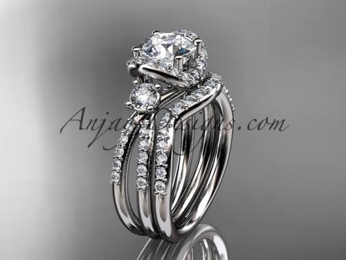 platinum diamond unique engagement set, wedding ring ADER146S