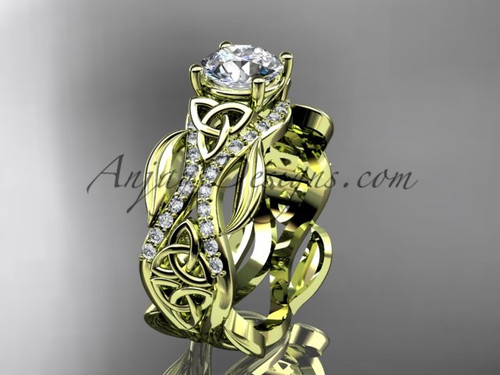 """14kt yellow gold diamond celtic trinity knot wedding ring, engagement ring with a """"Forever One"""" Moissanite center stoneCT7515"""