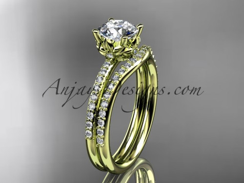 14kt yellow gold diamond floral wedding ring, engagement set ADLR92S