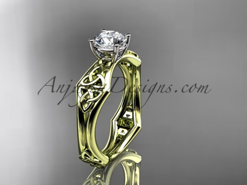 """14kt yellow gold celtic trinity ring,  triquetra ring, engagement  ring with a """"Forever One"""" Moissanite center stone CT7356"""