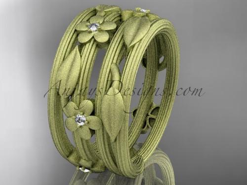 14kt yellow gold diamond leaf and vine, floral wedding band ADLR242B