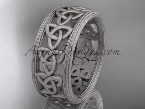 14kt white gold celtic trinity knot wedding band, matte finish wedding band, engagement  ring CT7513G