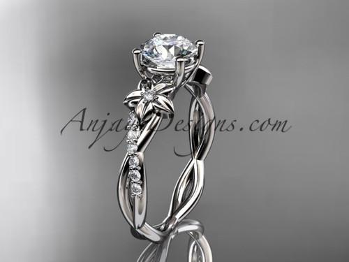 "platinum flower diamond  wedding ring, engagement ring with a ""Forever One"" Moissanite center stone ADLR388"
