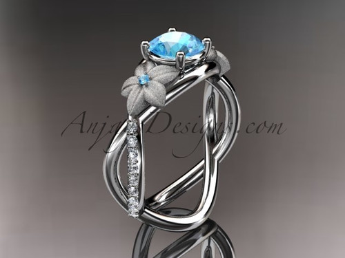 14kt white gold diamond leaf and vine birthstone ring ADLR90 Aquamarine - March\'s Birthstone. nature inspired jewelry