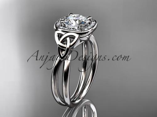 platinum moissanite celtic engagement ring CT7330