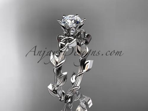 Moissanite Celtic Ring, White Gold Leaf Wedding Ring CT7248