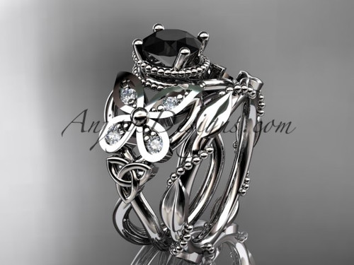 14kt white gold diamond celtic trinity knot  wedding ring, butterfly engagement set with a Black Diamond center stone CT7136S