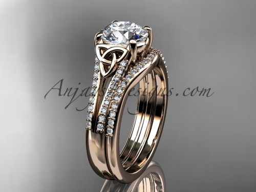 14kt rose gold celtic trinity knot engagement ring ,diamond wedding ring, engagement set CT7108S