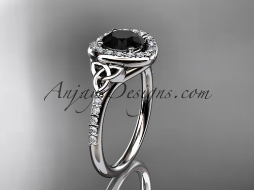 14kt white gold diamond celtic trinity knot wedding ring, engagement ring with a Black Diamond center stone CT7201