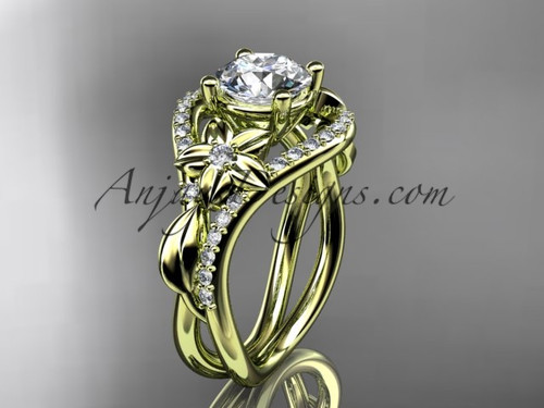 Yellow Gold Moissanite Leaf Engagement Ring ADLR244