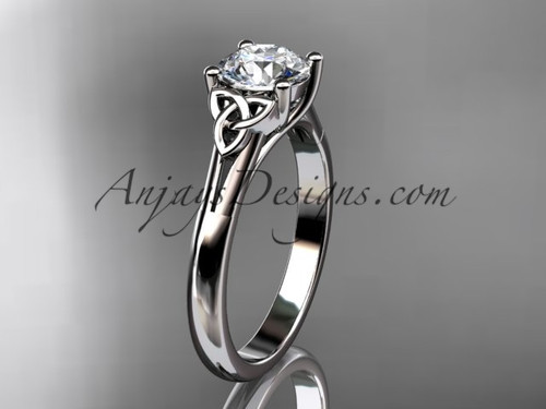 """14kt white gold celtic trinity knot wedding ring with a """"Forever One"""" Moissanite center stone CT7154"""