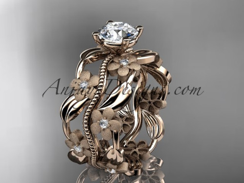 "14kt rose gold diamond leaf and vine wedding ring, engagement ring with a ""Forever One"" Moissanite center stone ADLR188"