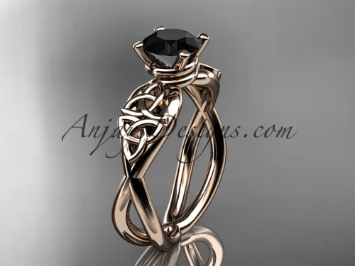 Celtic Black Diamond Rose Gold Wedding Ring CT770