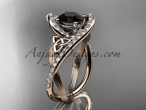 Black Diamond Ring, Rose Gold Irish Wedding Ring CT7369
