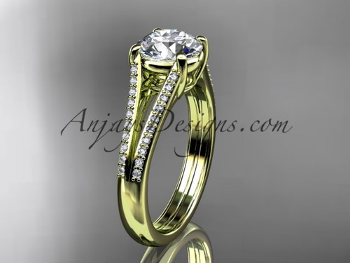 """14kt yellow gold diamond unique engagement ring, wedding ring with a """"Forever One"""" Moissanite center stone ADER108"""