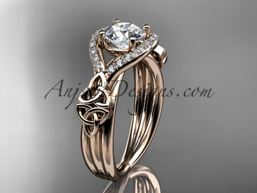 14kt rose gold celtic trinity knot engagement ring ,diamond wedding ring CT785