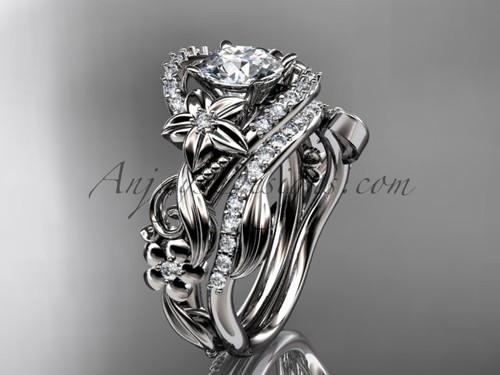 Diamond Engagement Ring Set, White Gold Flower Ring ADLR211S