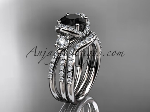 platinum diamond unique engagement set, wedding ring with a Black Diamond center stone ADER146S