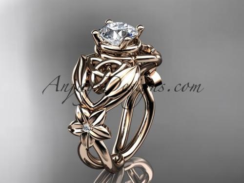 14kt rose gold diamond celtic trinity knot  wedding ring, engagement ring  CT7501