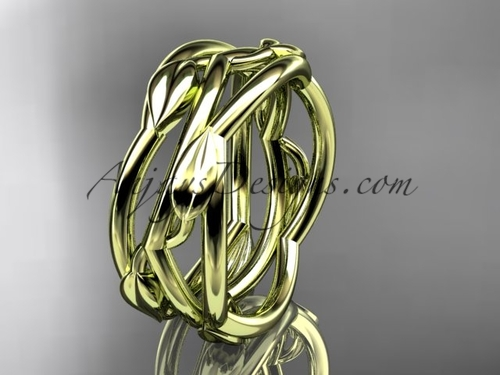 Yellow Gold Leaf Wedding Rings Vine Wedding Band ADLR350G